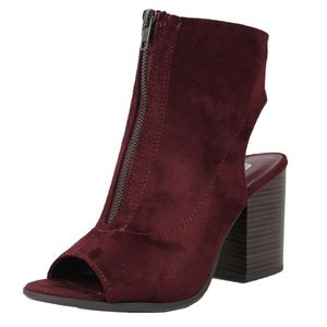 Shoes - Vino Red Center Zipper Open Back Stacked Heel boot